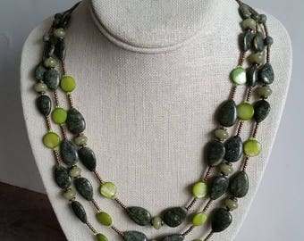 3-STRAND SERPENTINE NECKLACE with Green Mother of Pearl Discs. Triple Strand Green and Bronze Gemstone Necklace.