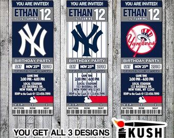 Yankees baby shower etsy new york yankees baseball printable ticket invitation design digital files only stopboris Gallery