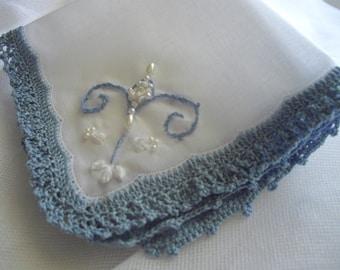 Something Blue Keepsake Handkerchief Embroidered Crocheted One Of A Kind Featured at Martha Stewart Wedding Party Silk Ribbon handcraftusa