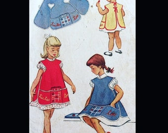 Vintage 50s Girl's Tie Back Tic Tac Toe Apron Smock Sewing Pattern 1712 6