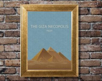 The giza necopolis, Egypt, Illustration, Digital Download Printable, Image For Wall Decoration, Prints
