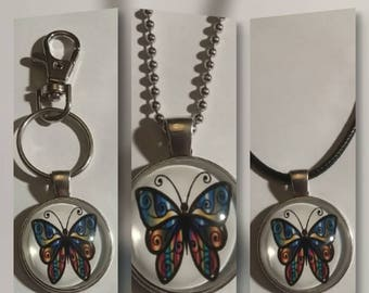 Butterfly glass pendant on your choice of necklace or key chain