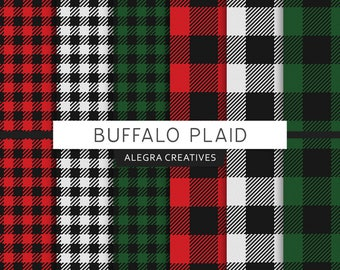 Buffalo Plaid digital paper, check, checkered, lumberjack, red, green, white, black, scrapbook papers (Instant Download)
