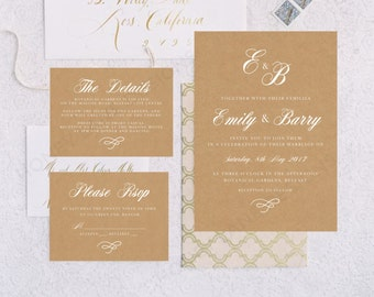 Personalised Printable Wedding Invitation Set; Invite, RSVP, Details Card, Emily - WC31