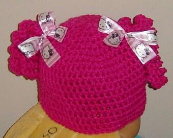 Newborn Baby Girl Pigtail Hat