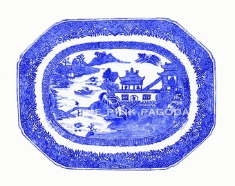 Blue and White Chinoiserie Platter Two 11x14 Giclee