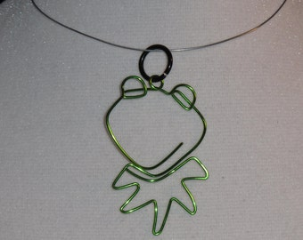 Wire Wrapped Kermit The Frog Pendant Large MADE to Order