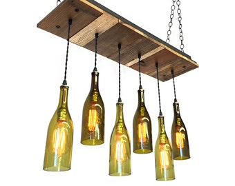 Wine bottle chandelier rustic chandelier modern lighting dining chandelier reclaimed wood light fixture 6 wine bottle rustic chandelier rustic light fixture aloadofball Choice Image