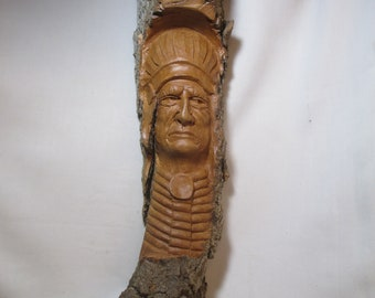 Hand Carved Native American War Chief, Wood Carving, Hand carved in Missouri, One of a Kind, Cottonwood Bark, Rustic Log Cabin Decor,