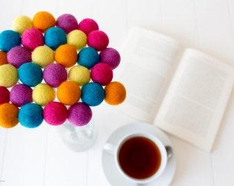 Wool Felt Ball Flowers. Pom Pom Flowers. Wool Craspedia. Billy Buttons Balls. Home Decor. Yellow. Orange. Pink. Wedding bouquet. Posies Posy