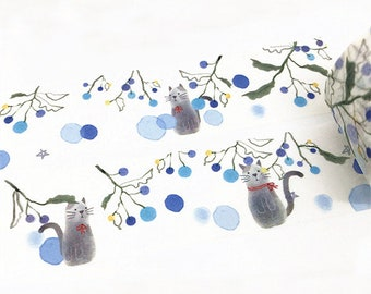 Cat Washi Tape, Cute Washi Tape, Kitten Washi Tape, Flowers Washi Tape, Vine Washi Tape, Washi Tape