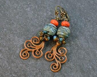 Earthy Rustic Boho Turquoise Orange Blue Earrings Artisan Patina Dangle Earrings