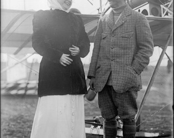 Poster, Many Sizes Available; Louis Paulhan & Mrs Ferris First U.S. Woman Passenger 1910