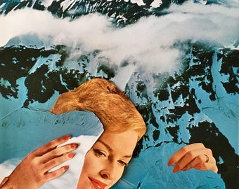 Paper Collage Original Art * Peak! * by Okay For Now