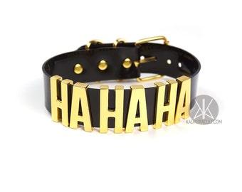 "Joker ""HA HA HA"" Choker | Jared Leto Joker Cosplay | Suicide Squad Movie | Halloween Costume | Pop Culture | Comics | Big Letters - Gold"