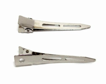 50 Long Single Prong Alligator Hair Clips 57mm (2 1/4 inch)