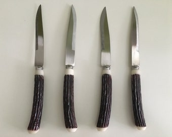 Vintage Faux Deer Antler Handle Steak Knives