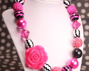 Fuchsia and Black Rose Bubble Gum Beaded Necklace, Spring Chunky Necklace, Easter Necklace, Chunky Bead Necklace, Girls Necklace