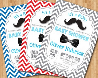Mustache Baby Shower Invitation. Baby Boy Or Baby Girl Chevron Invites. Bow  Tie, Mustache Baby Shower. DIY Printable Any Custom Color.