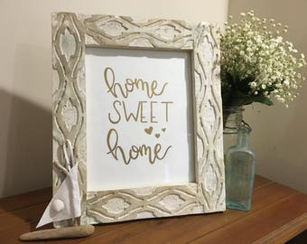 Home Sweet Home Hand Lettered Gold Print