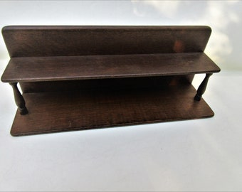 Vintage Wooden Shelf | Small Spice Rack | 2 Tier Shelf | Counter Top Shelf | Small Spice Display