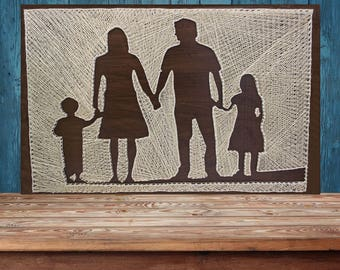 Family Silhouettes String Art