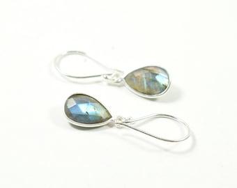 Labradorite earrings, Blue labradorite, Gemstone earrings, Facet stones, Bezel stones, Silver earrings, Drop earrings, Dangling earrings