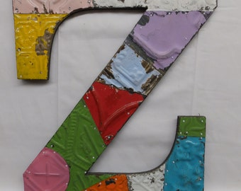 "Tin Ceiling Wrapped 16"" Letter ""Z"" Patchwork Reclaimed Metal Mosaic Wall Hanging S1907-14"