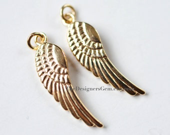 One 18kt Gold Vermeil Angel Wing Charm with Open Jump Ring 27 x 7mm