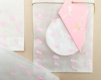 Rose traiter les sacs, sacs de papier blanc, parti faveur rose, baby shower régal sacs