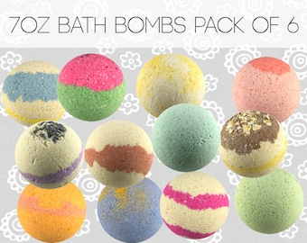 7 oz Bath Bombs Set Pack of 6 Mix & Match Scents Handmade Cocoa Butter Coconut Oil Moisturizing Lush Fizzies