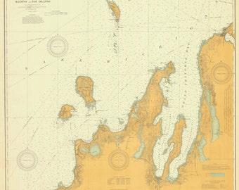 Lake Michigan - Manitou and Fox Islands Historical Map 1912