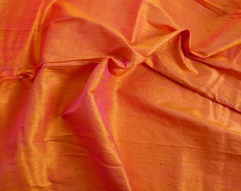 Silk Dupioni in Mustard with Magenta shimmers,Fat Quarter, D - 102.