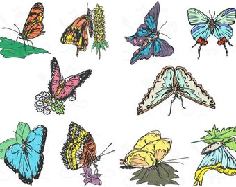 Butterfly Digital Clip Art Hand Drawn Instant Download Digital Artwork Black outlines insect animal bugs nature flowers floral realistic art