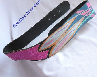 Vintage 80s Hand Painted Leather Cinch Belt/ Gunmetal Blue Pink Gold Floral / medium 29 to 31 waist / Contoured Drop Front