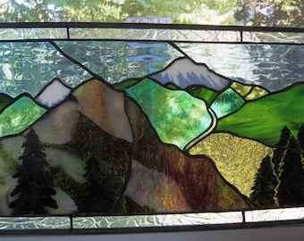 mountain view in stained glass with kiln fired painted trees