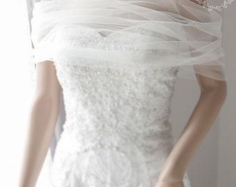 "Bridal Wrap, Wedding Cover Up, Wedding Shrug, Bridal Bolero in silk tulle white or ivory bridal shawl. Can be worn two ways! ""Lizzy"""