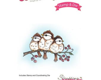 Cottage Cutz Stamp and Die Set - Chickadees