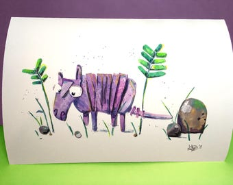 Armadillo Illustrated Print - A4 - Animal Collage Painting - Children's Illustration - Art - Drawing