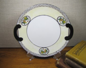 Noritake - Hand Painted Plate - Pale Yellow Rim -  Black and White Accent - Black Handles - Made in Japan