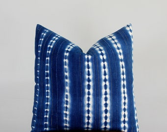 Indigo with Gold Mudcloth Pillow Cover for 24x24 Insert