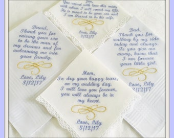 PERSONALIZED  Set of 4 Embroidered Handkerchiefs Metallic  Swirl Design