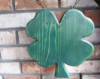 Distressed Wood Folk Shamrock Primitive Hanging Decoration Medallion without Hanger