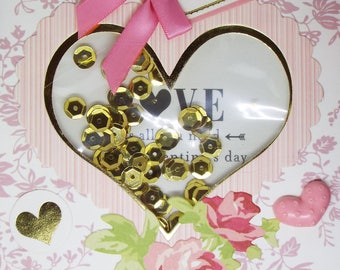 Valentine's Cards 2018 Set of 6 Homemade Shaker Cards Set 2