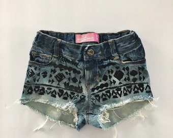 3T Distressed Denim Girls Shorts - Aztec - Hippie Clothing - Girls Jean Shorts - Girls Summer Clothing - Cutoffs - Cute Summer Clothing