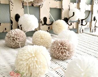 Pom Pom Garland - Linen, Ivory, White - Yarn Pom Poms Garland - Birthday, Wedding, Ivory Pom Poms, Wall Hanging Decoration 8 Ft.