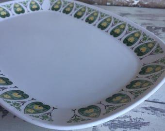 Vintage Noritake Progression Platter - Palos Verde Green and White