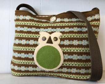 Wool Sweater Owl Bag