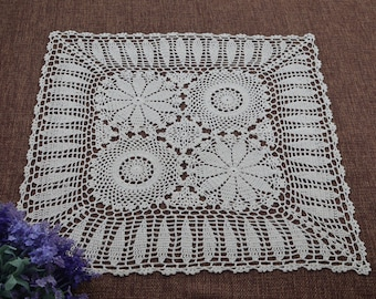 """Vintage style crocheted sofa cover square, hand crochet square tablecloth, chic pattern sofa cover in wide usage ~ 24""""x24"""" Square"""