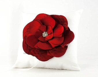 Red and Black Rose Wedding Ring Bearer Pillow - 75104RB